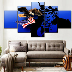 5 Panel 4th Of July Independence Day Picture American Flag Eagle And Uncle Sam Poster Modern Wall Art