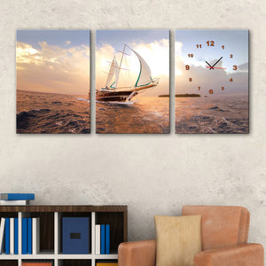 3 Pieces Boat On The Sea With Clock Modern Wall Art Printed Canvas Painting Room Home Decor