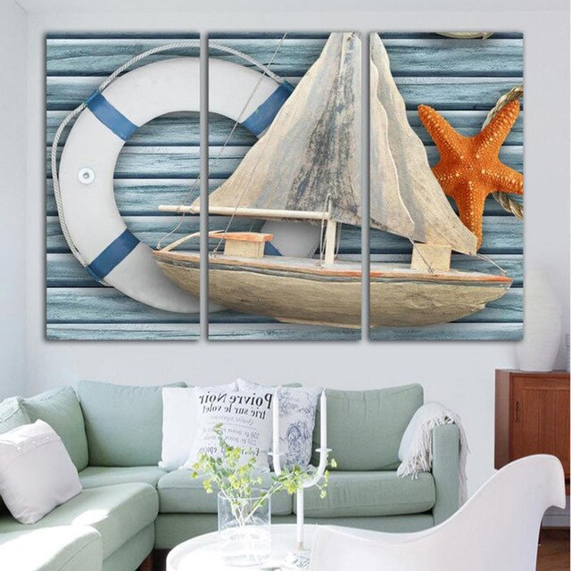 Modern Canvas Painting Nautical Draw Starfish Boat Canvas Poster 3 Pieces Canvas Wall Art Picture