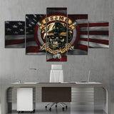 5 Piece Independence Day Festive Decor Wall Picture Skull American Flag Poster Artwork Painting Room Decor
