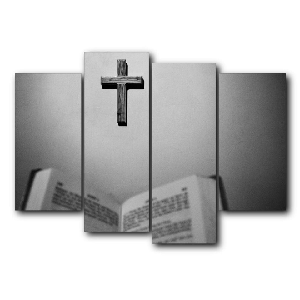 Canvas Calligraphy Painting 4 Panel Cross Posters and Prints Christian Wall Artwork Pictures Home Decor
