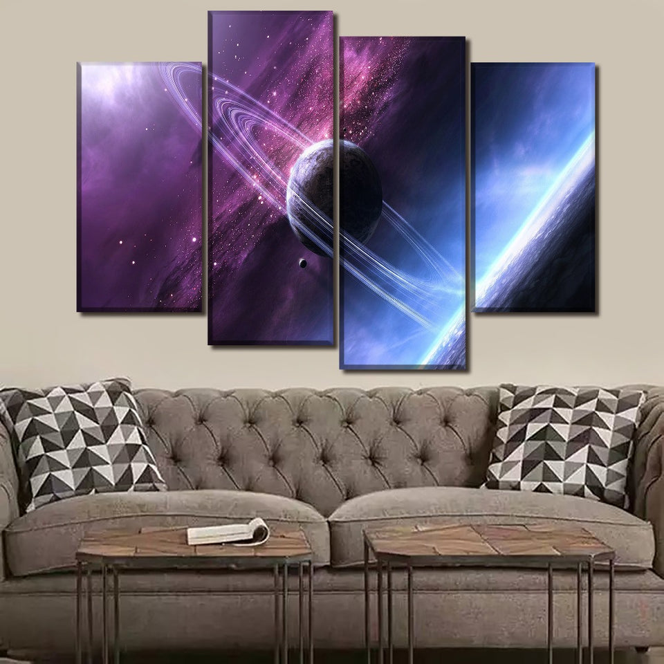 Canvas HD Print Painting Living Room Wall Art 4 Piece Stars Space Glow Landscape Picture Modular Posters