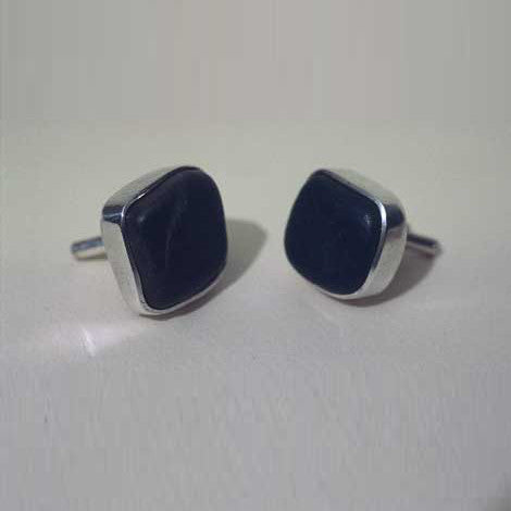 Square Beach Stone Cuff Links