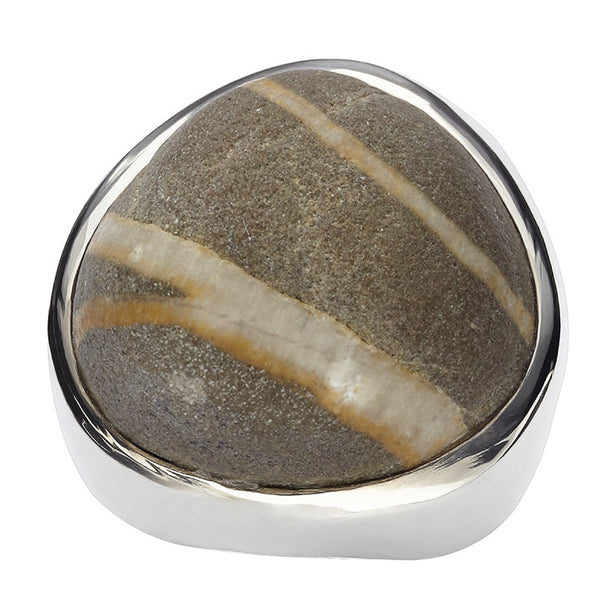 Mens Double Stripe Beach Stone