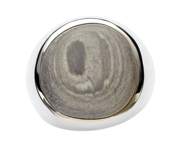 Men's Style Sterling Eyeball Beach Stone