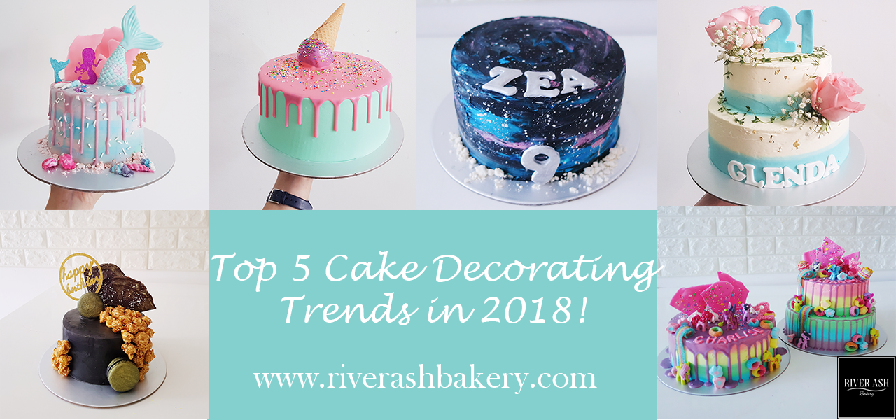 Top 5 Cake Decorating Trends in 2018! Drip cakes, black cakes, shards, fresh florals, mermaids, galaxy and many more!