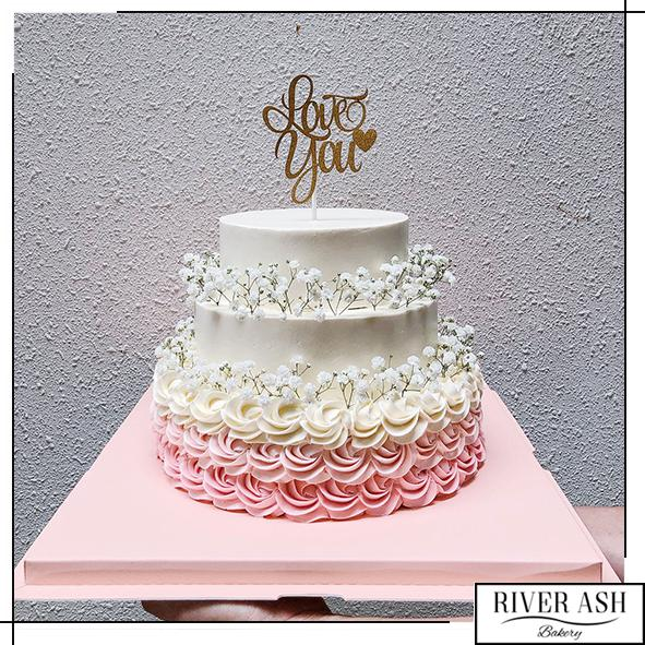 2-tier and 3-tier Wedding Centerpiece Cake/Engagement ROM Cake-River Ash Bakery