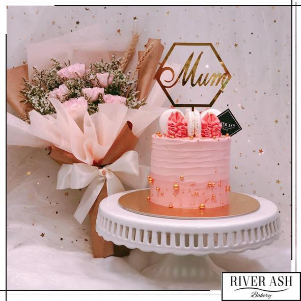 "4"" Tall Gold Pearl Pink Cake-River Ash Bakery"