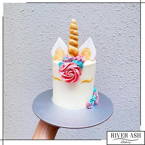 "4"" Tall Magical Unicorn Cake-River Ash Bakery"