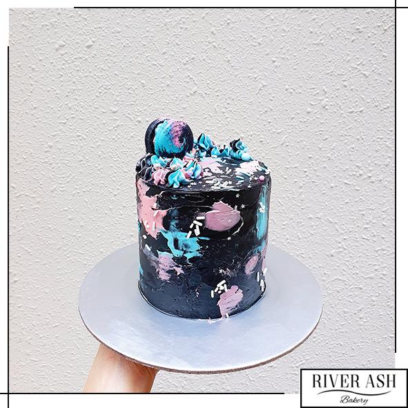 "4"" Tall Mysterious Galaxy Cake-River Ash Bakery"
