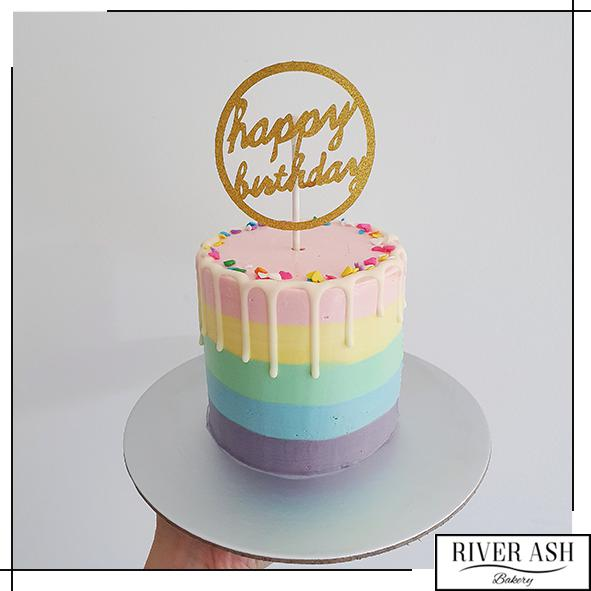 "4"" Tall Pastel Rainbow Cake-River Ash Bakery"