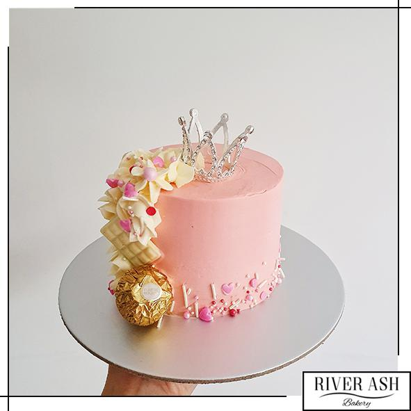 "4"" Tall Princess Crown Cake-River Ash Bakery"