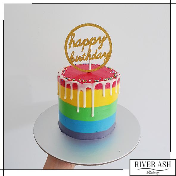 "4"" Tall Rainbow Cake-River Ash Bakery"