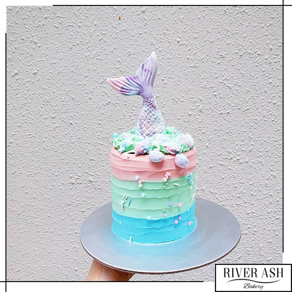 "4"" Tall Whimsical Mermaid Cake-River Ash Bakery"