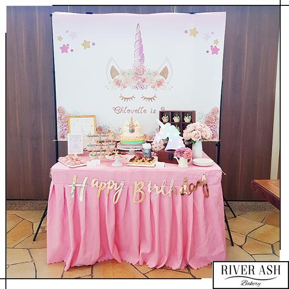 $699 Dessert Table (2tier Cake + Backdrop Included)-River Ash Bakery