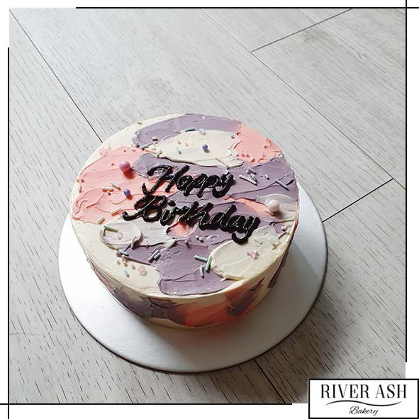 Abstract Korean Lettering Minimalist Cake-River Ash Bakery