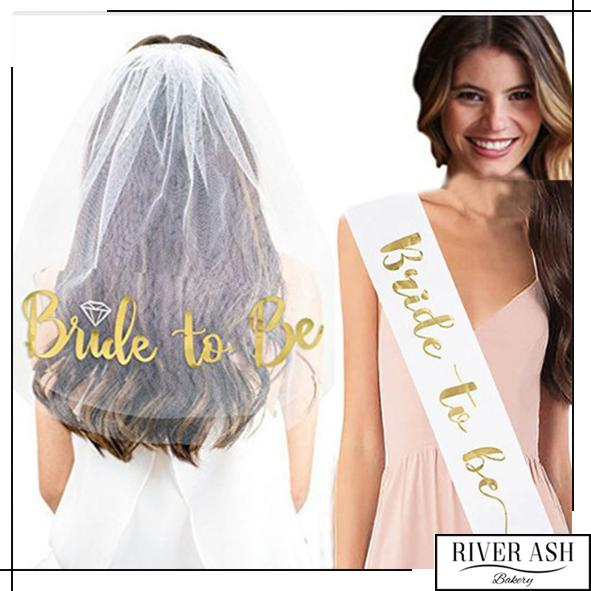 Bride-To-Be/Bachelorette Party Veil and Sash-River Ash Bakery