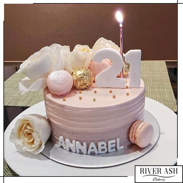 Dusty Pink with Roses Cake-River Ash Bakery