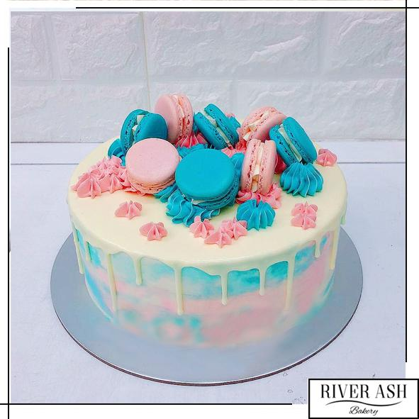 Gender Reveal Cake with Macarons-River Ash Bakery