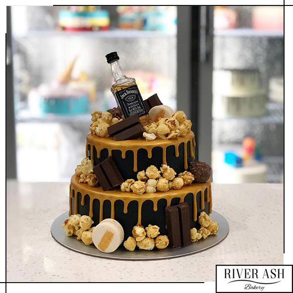 Gold Drip Jack Daniel Whiskey/Whisky Alcohol Cake-River Ash Bakery