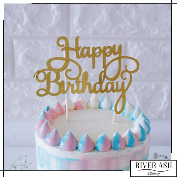 """Happy Birthday"" Cake Topper-River Ash Bakery"