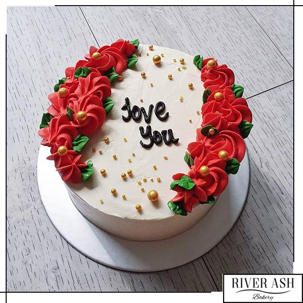 Korean Red Rose lettering Cake-River Ash Bakery