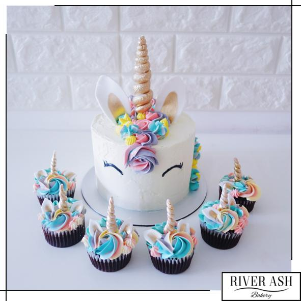 Magical Unicorn Cake+Cupcakes Bundle-River Ash Bakery