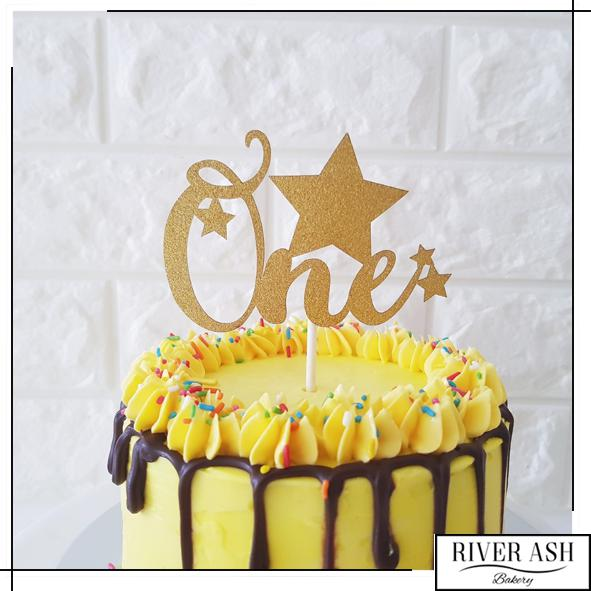 """ONE"" Cake Topper-River Ash Bakery"