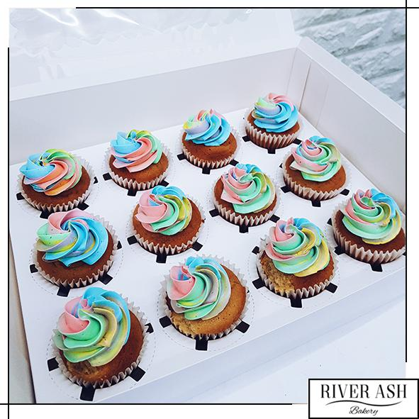 Pastel Rainbow Frosty Cupcake-River Ash Bakery