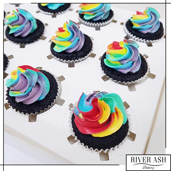 Rainbow Frosty Cupcake-River Ash Bakery