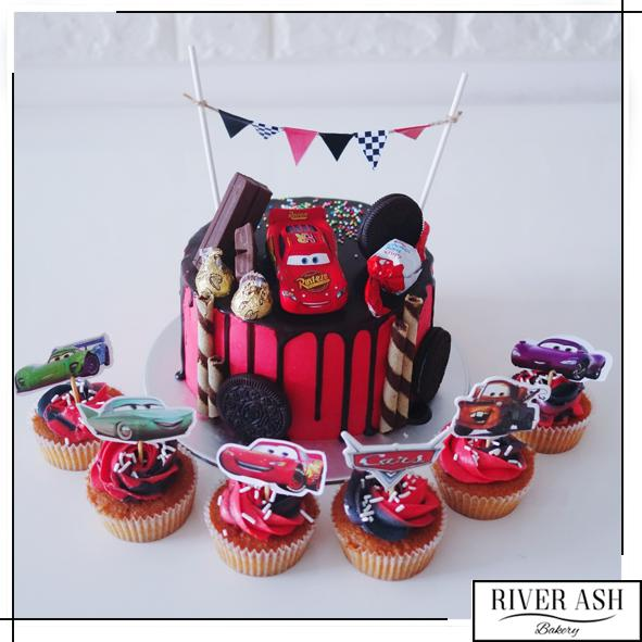 Red Cars Cake+Cupcakes Bundle-River Ash Bakery