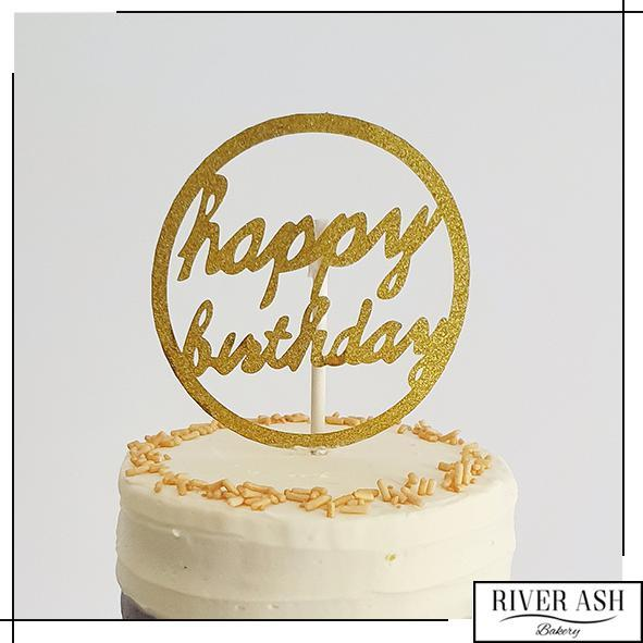 Round HBD Cake Topper-River Ash Bakery
