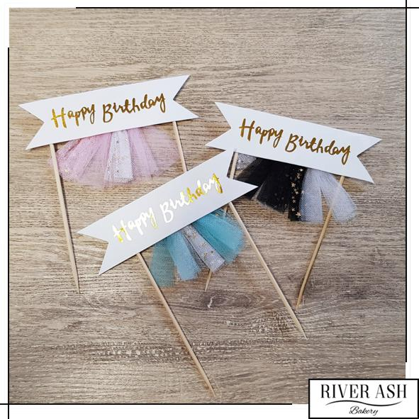 Tassles Happy Birthday Cake Topper-River Ash Bakery