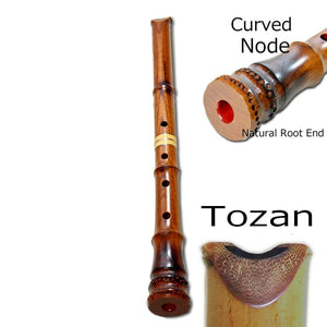 Customizable Zelkova Shakuhachi (w/ Node) (Curved End) (Tozan) - Taiko Center Online Shop