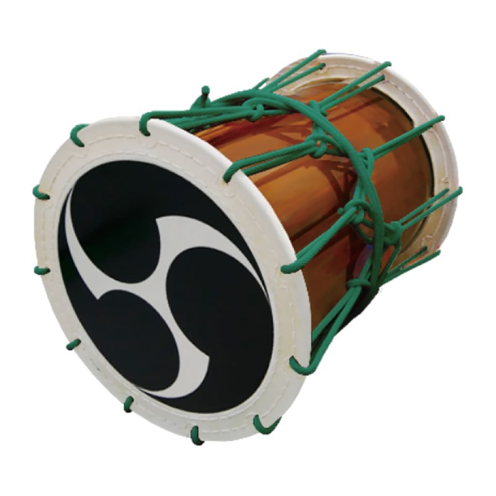Katsugi Oke Daiko (1.5 shaku) (Rope: Green) (Tomoe: Black) (Display Model)