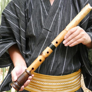 Karin Bamboo Shakuhachi (w/ Node and Natural Root End) (Curved End) (Tozan) - Taiko Center Online Shop