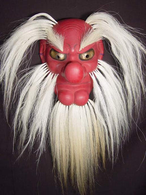 Omen (Japanese Mask) Tengu with Hair FLK04 - Taiko Center Online Shop