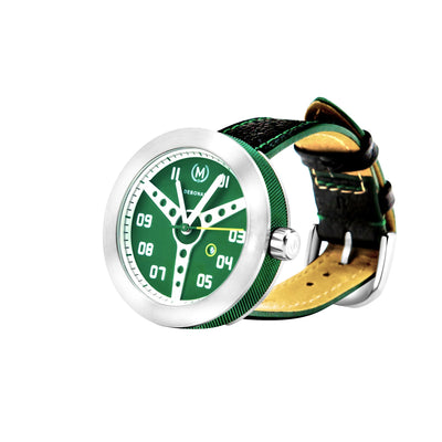 mens car watches with green dial and retro steering wheel on dial. leather watch strap. unique timepiece for mens watches uk