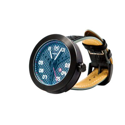 carbon fibre racing watch for car guys, black watch case making for great affordable motorsport watches for men