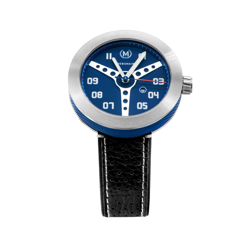 BLUE WITH BLACK STRAP DEBONAIR - Marchand Watch Company