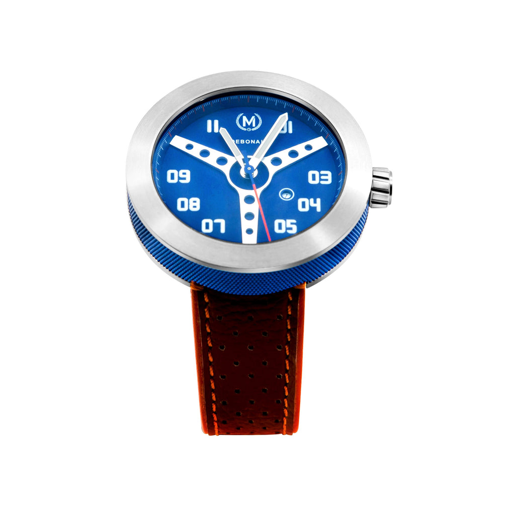 blue watch dial is retro driver watch inspired, stainless steel case and quartz watch movement