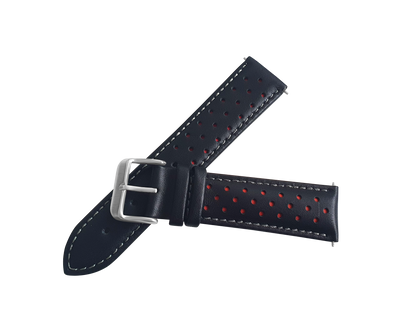 BLACK AND RED LEATHER RALLY WATCH STRAP, SILVER BUCKLE