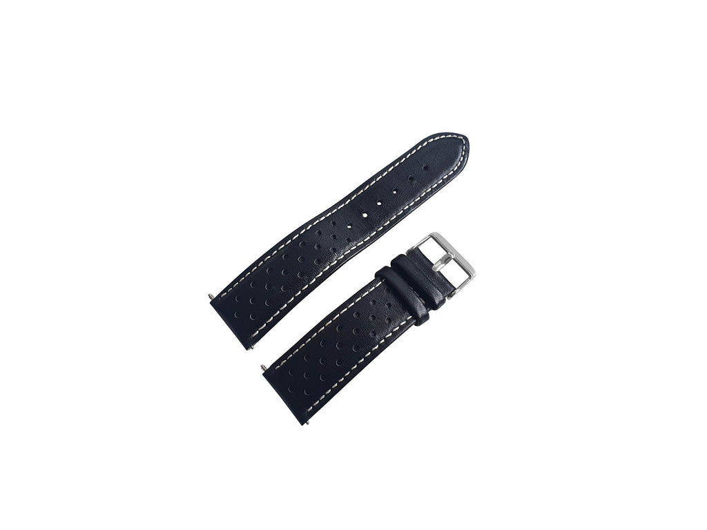 BLACK LEATHER RALLY WATCH STRAP