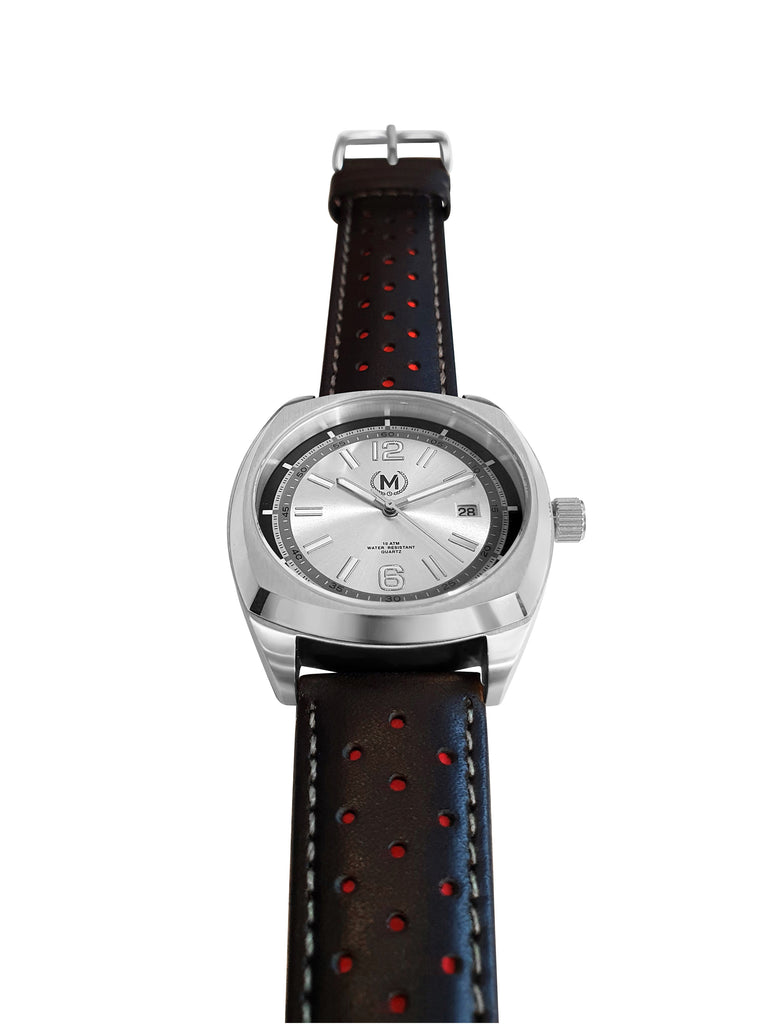 SILVER DIAL DRIVER, BLACK AND RED STRAP