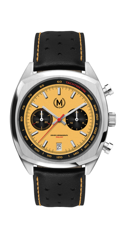 DRIVER CHRONOGRAPH MKII, YELLOW PANDA (PRE ORDERS BEGIN APRIL ON KICKSTARTER)