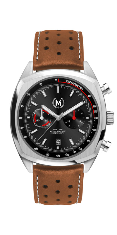 CLASSIC DRIVER CHRONOGRAPH, TAN STRAP - Marchand Watch Company