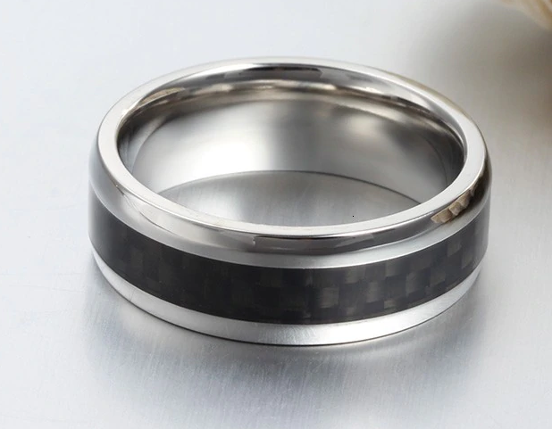 MEN'S SILVER AND CARBON FIBRE RING