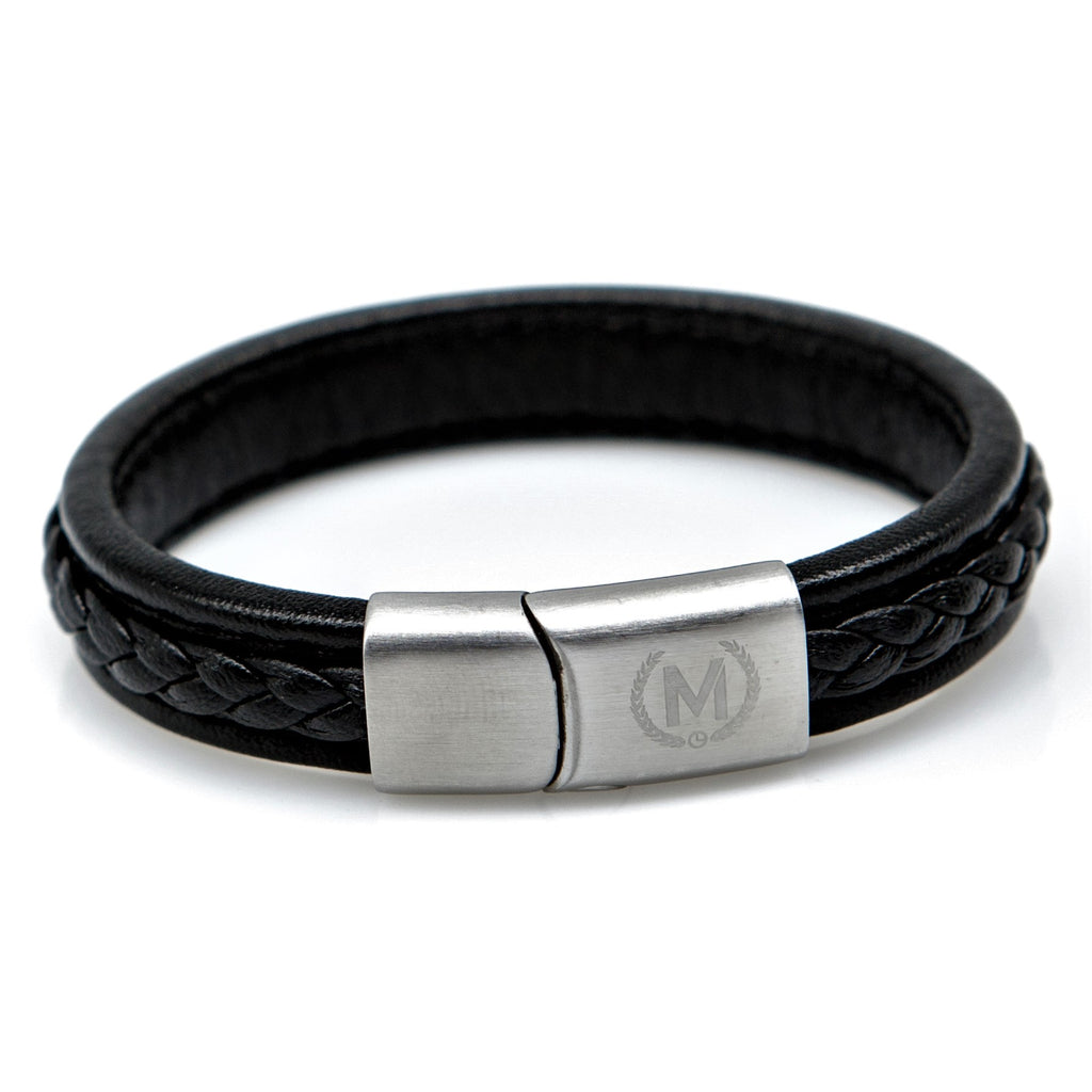 Black and Silver Marchand Leather Bracelet - Marchand Watch Company