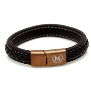 Brown and Bronze Marchand Leather Bracelet