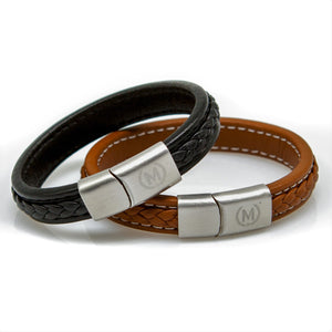Tan and Silver Marchand Leather Bracelet